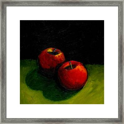 Two Red Apples Still Life Framed Print by Michelle Calkins