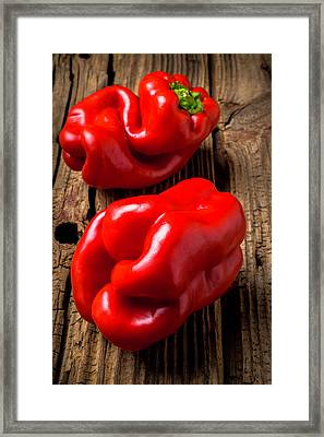 Two Red Bell Peppers Framed Print