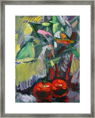 Two Red Tomatoes Framed Print by Piotr Antonow