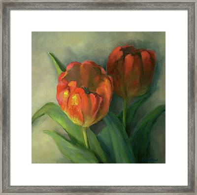 Two Red Tulips Framed Print by Vikki Bouffard