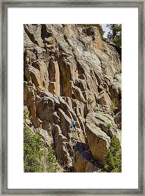 Framed Print featuring the photograph Two Rock Climbers Making Their Way by James BO Insogna