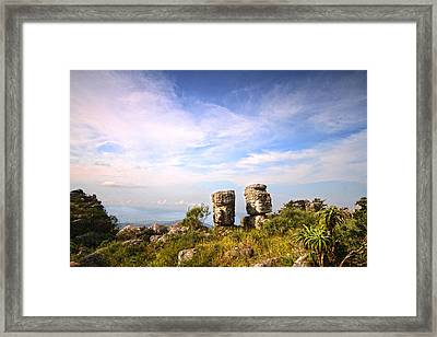 Two Rock Pinacles And Sky Landscape Photograph With Footpath At Kaapsehoop Framed Print by Jan Van der Westhuizen