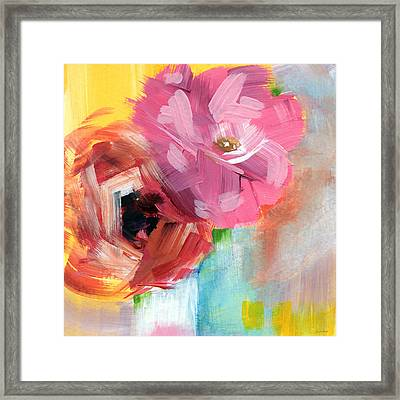 Two Roses- Art By Linda Woods Framed Print by Linda Woods