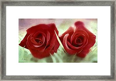 Two Roses Framed Print by S Art