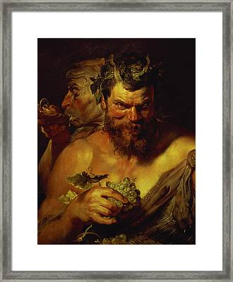 Two Satyrs Framed Print by Peter Paul Rubens