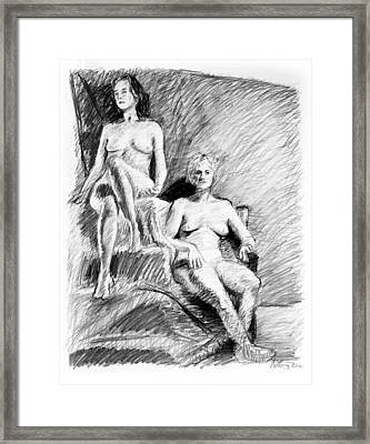 Two Seated Nudes Figure Drawing Framed Print by Adam Long
