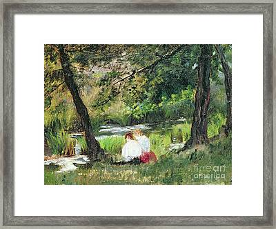 Two Seated Women Framed Print by Mary Stevenson Cassatt
