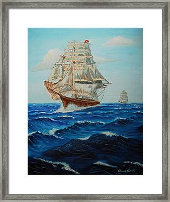 Two Ships Sailing Framed Print by Quwatha Valentine