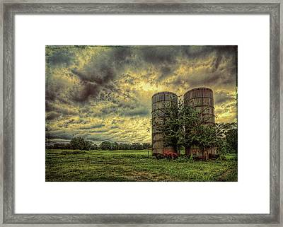 Framed Print featuring the photograph Two Silos by Lewis Mann