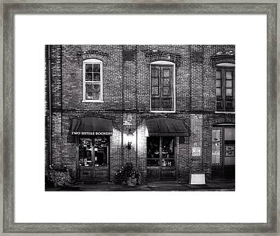 Two Sisters Bookery In Black And White Framed Print