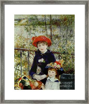 Two Sisters Framed Print by Pierre Auguste Renoir