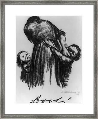 Two Small Children Begging Mother Framed Print by Everett
