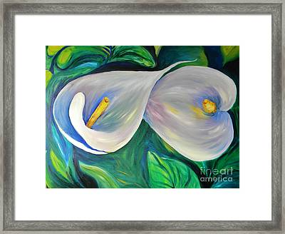 Two Spring Callas Framed Print by Emily Michaud