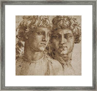 Two Studies Of The Head Of A Youth Framed Print