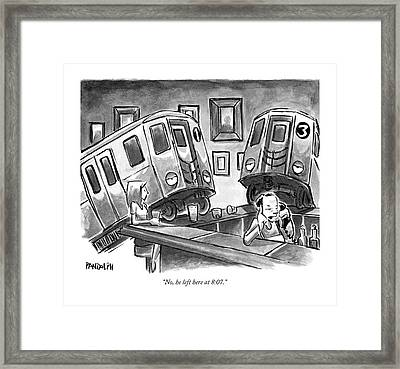 Two Subway Trains Sit Drunk At A Bar Framed Print