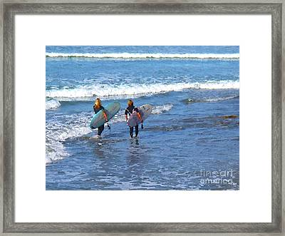 Two Surf Friends Framed Print by Waterdancer