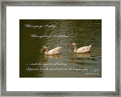 Two Swans - Marriage Vows Framed Print