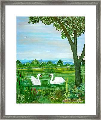 Two Swans Framed Print by Anna Folkartanna Maciejewska-Dyba