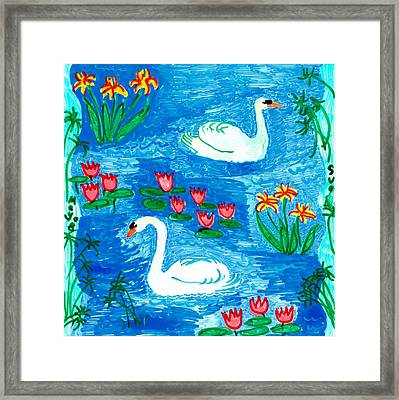 Two Swans Framed Print by Sushila Burgess