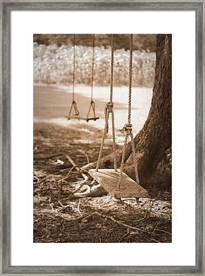 Two Swings - Sepia Framed Print
