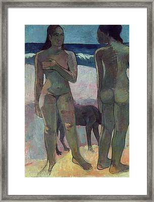 Two Tahitian Women On The Beach Framed Print by Paul Gauguin