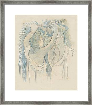 Two Tahitians Gathering Fruit - Verso Framed Print by Paul Gauguin