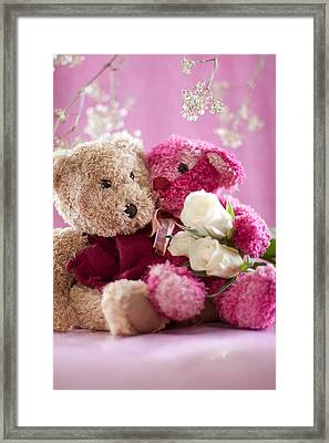 Framed Print featuring the photograph Two Teddy Bears With Roses by Ethiriel  Photography