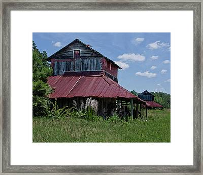 Two Tobacco Barns Framed Print by Sandra Anderson