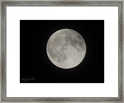 Two-tone Gray Moon Framed Print