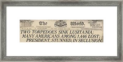 Two Torpedoes Sink Lusitania Many Framed Print