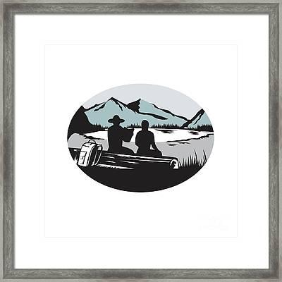 Two Trampers Sitting On Log Lake Mountain Oval Woodcut Framed Print by Aloysius Patrimonio