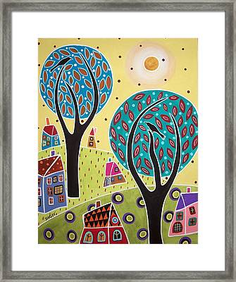 Two Trees Two Birds Landscape Framed Print by Karla Gerard