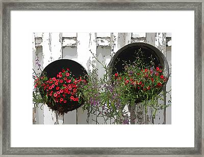 Two Tub Planters Displayed On Fence - Digital Artwork Framed Print by Sandra Foster