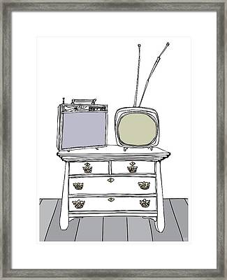 Two Tv's On A Chest Of Drawers Framed Print by Stan  Magnan