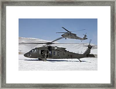 Two U.s. Army Uh-60 Black Hawk Framed Print by Stocktrek Images