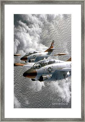 Two U.s. Navy T-2c Buckeye Aircraft Framed Print by Stocktrek Images