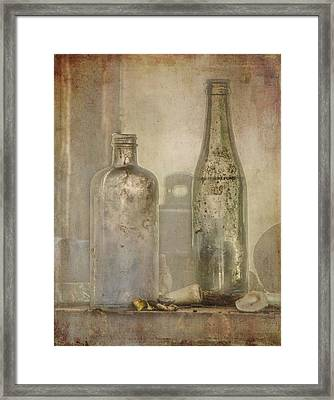 Two Vintage Bottles Framed Print