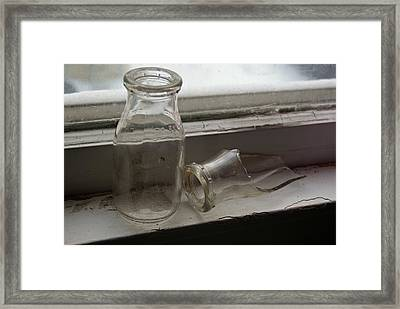 Vintage Half Pint Milk Bottles Framed Print