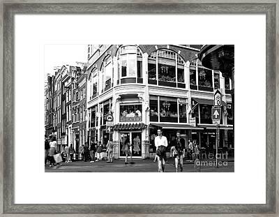 Two Walking In Amsterdam Mono Framed Print by John Rizzuto