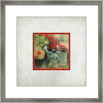 Two Watering Cans In The Garden Framed Print by Audrey Jeanne Roberts