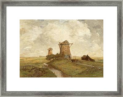 Two Windmills Between Abcoude And Ouderkerk On The Amstel Framed Print
