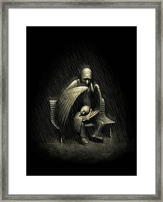 Framed Print featuring the digital art Two Wings And A Prayer by Ben Hartnett