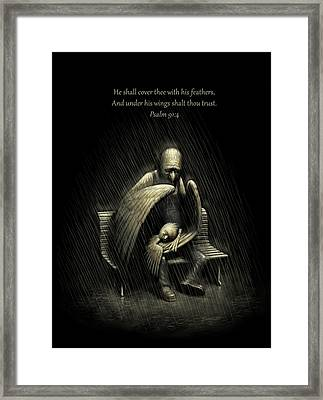 Framed Print featuring the digital art Two Wings And A Prayer - With Psalm 91 by Ben Hartnett