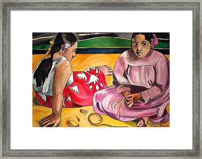 Two Woman On The Beach Framed Print