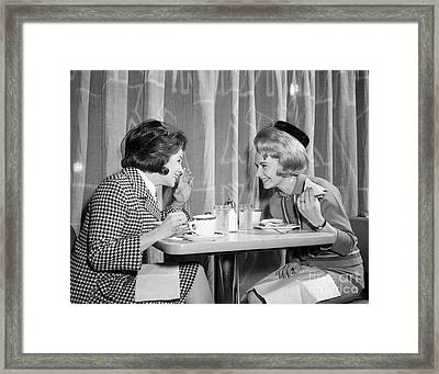 Two Women Gossiping At Lunch, C.1960s Framed Print
