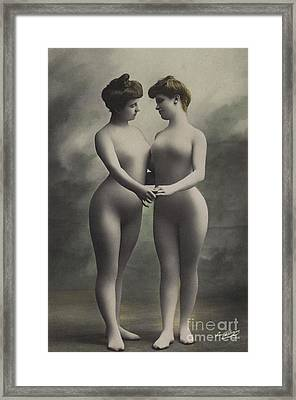 Two Women In Bodystockings Framed Print
