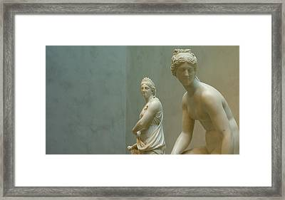 Two Women Framed Print by Lawrence Lanoff