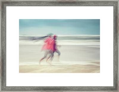 two women on beach No. 7 Framed Print by Holger Nimtz