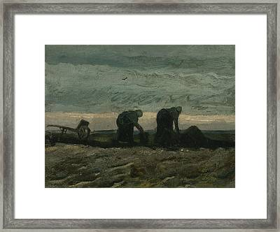 Two Women On The Heath Framed Print by Vincent van Gogh