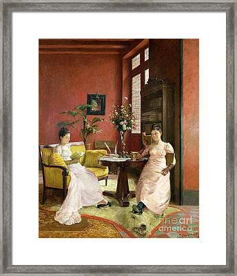 Two Women Reading In An Interior  Framed Print by Jean Georges Ferry
